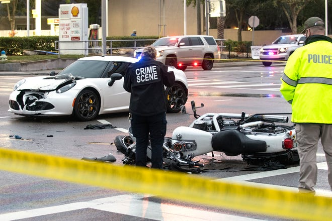 An Alfa Romeo and a motorcycle collided at the intersection of Fruitville Road and U.S. 301/Washinton Boulevard Sunday night. The motorcyclist was transported to Sarasota Memorial Hospital with unknown injuries.
