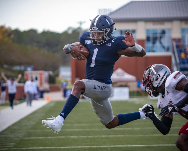 Georgia Southern quarterback Shai Werts runs for a touchdown against Troy during the Eagles' 20-13 victory on Nov. 7 at Paulson Stadium in Statesboro.