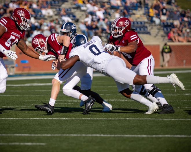 Georgia Southern defensive end Raymond Johnson III makes a play gainst UMass during the Eagles' 41-0 victory on Oct. 17 at Paulson Stadium in Statesboro.