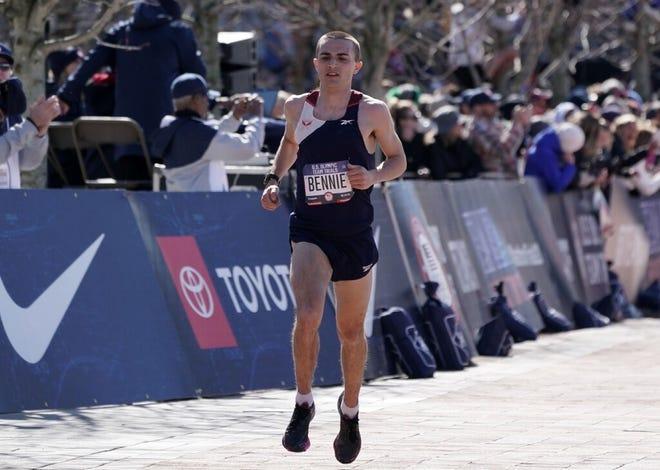 Wachusett Regional graduate Colin Bennie, shown here finishing ninth in February's U.S. Olympic Marathon Trials, broke 2:10 at the distance Sunday at The Marathon Project in Chandler, Arizona.