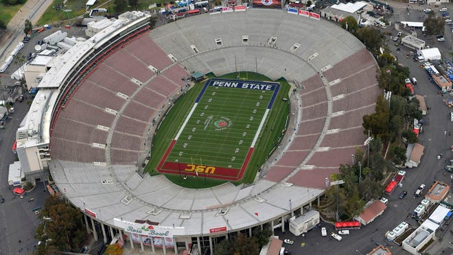 The Rose Bowl, shown here in 2017, will remain completely empty on Jan. 1 as the College Semifinal Playoff semifinal scheduled to be played in Pasadena, California, will take place in Arlington, Texas.