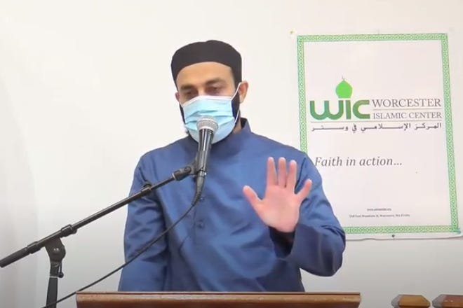 Imam Asif Hirani speaking Friday at the Worcester Islamic Center on East Mountain Street about whether Muslims should take the COVID-19 vaccine.
