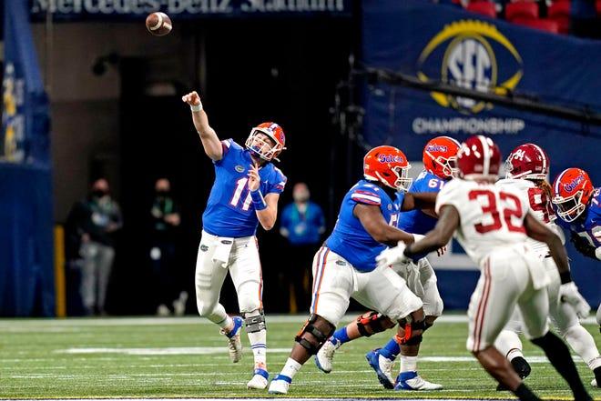 Florida quarterback Kyle Trask passes Saturday against Alabama in the SEC Championship Game at Mercedes-Benz Stadium in Atlanta.