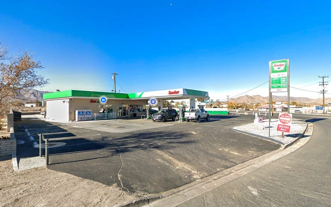 The Sinclair gas station in Lucerne Valley where deputies shot and killed a man reportedly armed with a knife on Friday, Dec. 18, 2020, after authorities said he backed his car into a patrol vehicle.