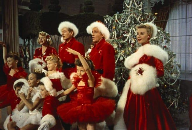 "Bing Crosby, Danny Kaye, Rosemary Clooney and Vera-Ellen star in ""White Christmas."""
