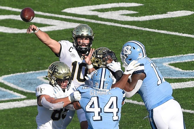 Wake Forest quarterback Sam Hartman and the Demon Deacons enter the Duke's Mayo Bowl with a 4-4 record.