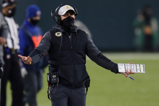 Green Bay Packers head coach Matt LaFleur reacts to a call during the first half of the game against the Carolina Panthers Saturday, Dec. 19, 2020, in Green Bay.