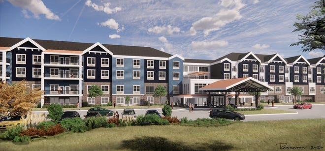 A digital rendering of a $30 million joint venture by IntegraCare and Avenue Development. The proposed senior living community will include a single four-story complex with 130 units for independent and assisted living apartments.