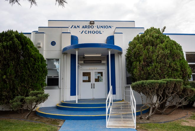 The main entrance of San Ardo School in south Monterey County. This photograph was taken in San Ardo, Calif., on Saturday, Dec. 5, 2020.