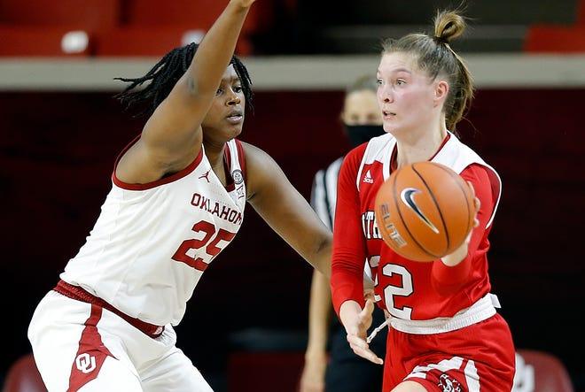 South Dakota's Chloe Lamb passes the ball against Oklahoma on Dec. 20, 2020.