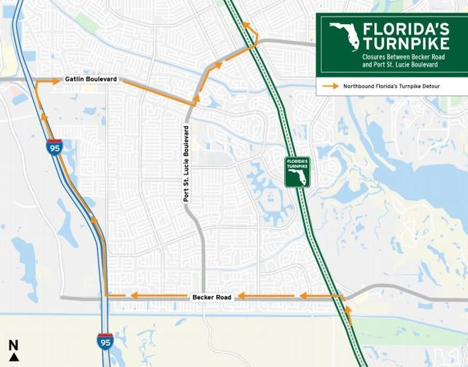 Northbound lanes of Florida's Turnpike between Becker Road and Port St. Lucie Boulevard are expected to close Sunday night, according to the City of Port St. Lucie.
