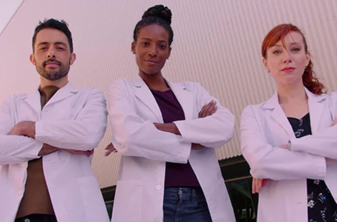 """""""100 Humans"""" is a science show on Netflix hosted by Sammy Obeid, Zainab Johnson and Alie Ward."""