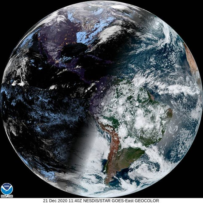A satellite image of Earth on the winter solstice in the northern hemisphere, Dec. 21, 2020.