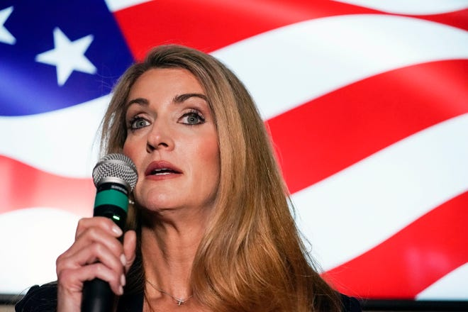 In this Nov. 13, 2020, file photo, Republican candidate for U.S. Senate Sen. Kelly Loeffler speaks at a campaign rally in Cumming. (AP Photo/Brynn Anderson, File)
