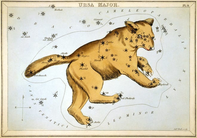 """Ursa Major, plate 9 in """"Urania's Mirror,"""" a set of celestial cards by Sidney Hall, 1825."""