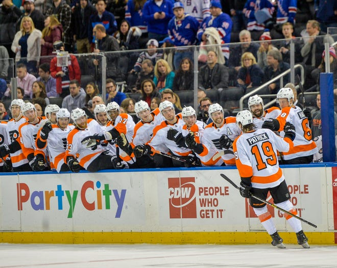 Flyers center Nolan Patrick celebrates a shootout goal against the Rangers.