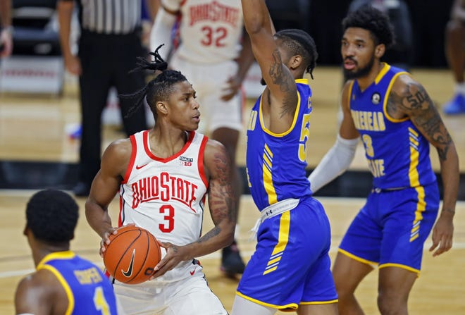 Ohio State freshman Gene Brown, shown against Morehead State on Dec. 2, made three three-pointers in a win over UCLA on Saturday.