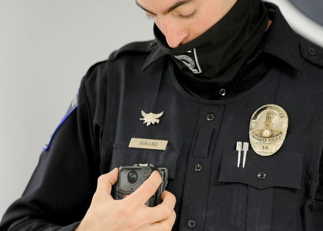 Mashpee patrolman Daniel Girard is one of 10 officers who will wear a body camera while on duty over the next year. The Mashpee Police Department began using the cameras as part of a pilot program earlier this month.