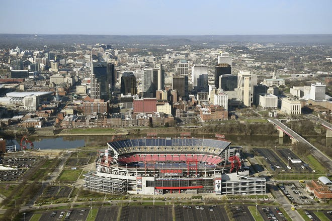 A view of Nissan Stadium with the Nashville skyline behind it. Missouri is slated to play Iowa in the Music City Bowl on Dec. 30 at the venue, home of the NFL's Tennessee Titans.