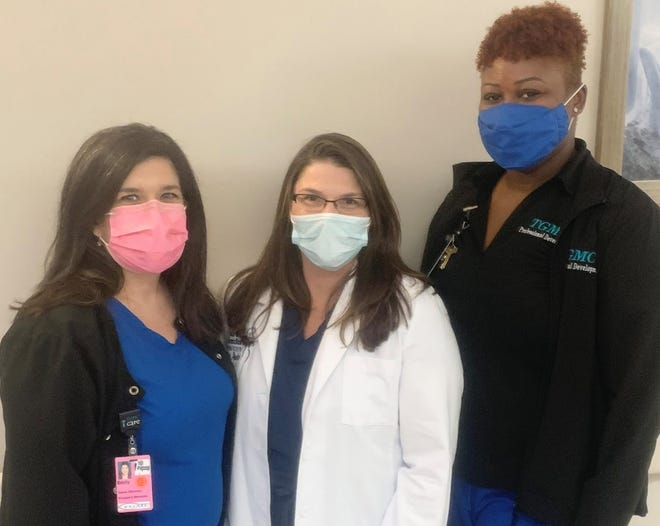 Among TGMC's Safety Star Award team members are (from left) Emily Taylor, a registered nurse and Women's Health Center director; Dr. Michelle Andre, an ob-gyn specialist; and LaToya Turner, a clinical nurse educator.