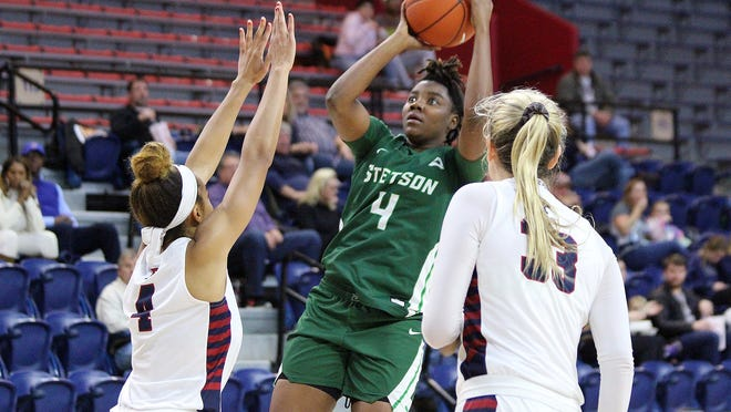 Jamiya Turnerscored 13 of her career-high-tying 16 points in the second half to help rally the Hatters in their comeback attempt against Bellarmine on Sunday, Jan. 24, 2021, in DeLand. Stetson lost, 71-64, at the Edmunds Center.