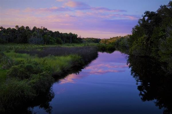 A spectacular sunset over Turnbull Creek, part of the ecosystem to be protected through a New Smyrna Beach  property-tax levy passed in 2018