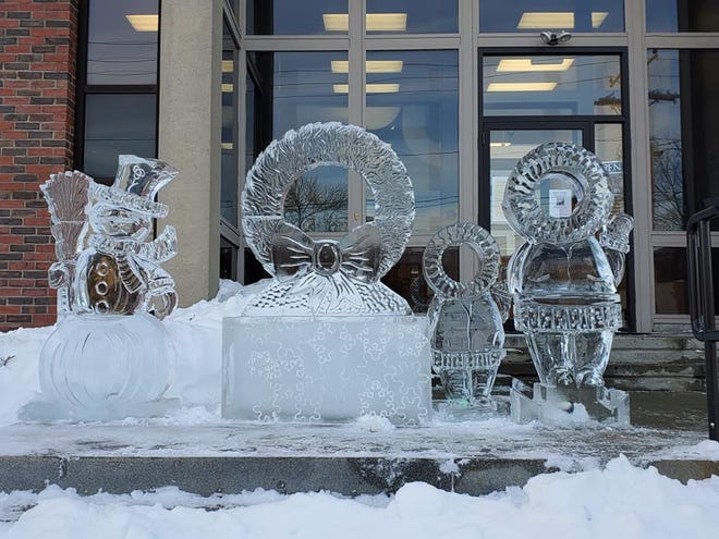 The 2020 ice sculpture can be found on the steps of the Somersworth Public Library.