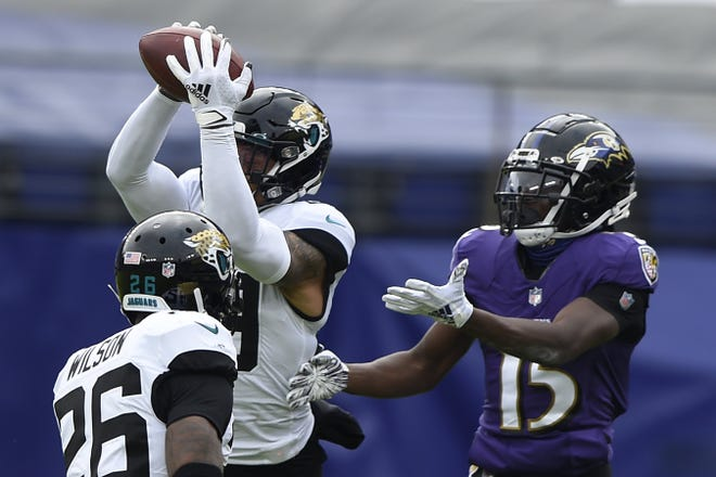 One of the few things that went right for the Jaguars in Sunday's loss was this interception by safety Josh Jones (29), who cut in front of a pass intended for Ravens' receiver Marquise Brown (15), on the opening series.