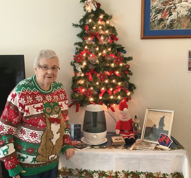"""Marie Meunier won the """"Most Festive"""" category in the Heywood Wakefield Commons virtual Ugly Holiday Sweater Contest."""