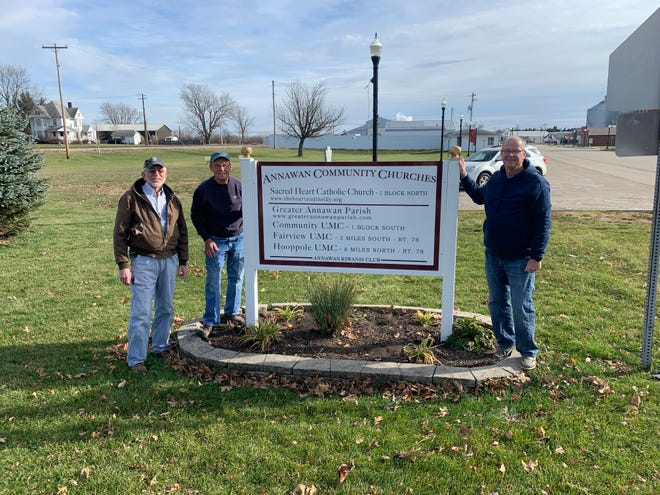 The Annawan Kiwanis club recently purchased and erected a new Church Information sign for the village.  Kiwanis member s(L-R) erecting the sign are Albert Hulting, Dick Van Kerrebroeck and Vern Griffiths.