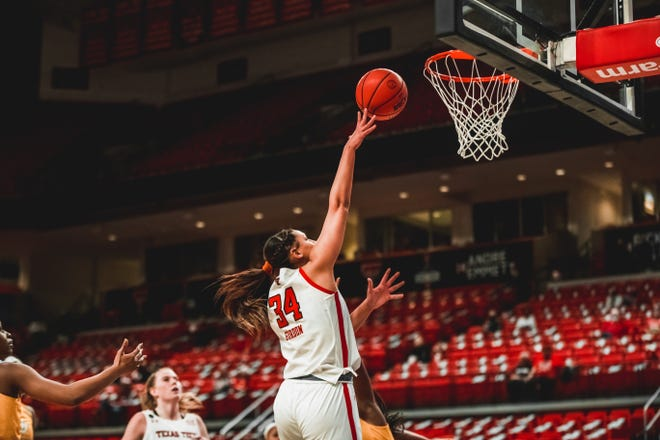 Texas Tech's Lexi Gordon attempts a layup during a nonconference game Dec. 21 against Southern University inside United Supermarkets Arena. Gordon finished with a game-high 25 points to go along with 10 rebounds toward a double-double performance.