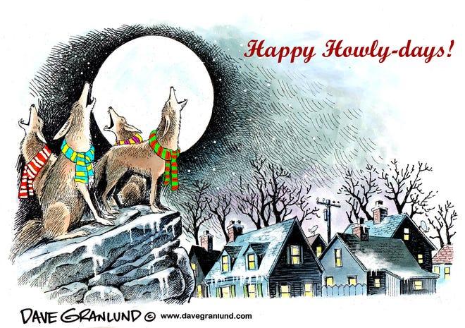 Dave Granlund cartoon on caroling coyotes