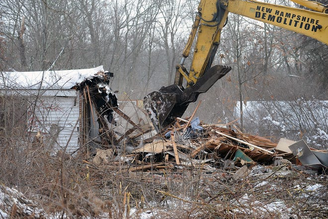 A home off Leland Street in Framingham polluted by General Chemical Co. was demolished Dec. 21, 2020.