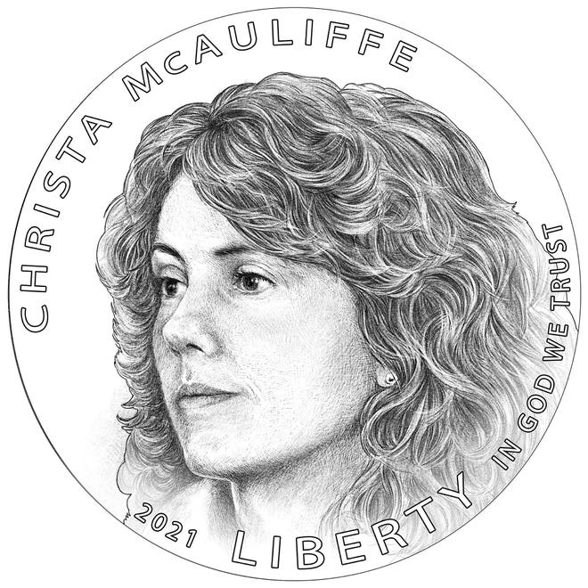 The official design of the Christa McAuliffe silver dollar, which will be released in 2021.