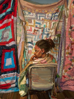 "Sedrick Huckaby, ""She Wore Her Family's Quilt,"" 2015, Oil on canvas, 24 x 18 in. Photograph by Gregory Staley. This painting is part of ""Memories & Inspiration: The Kerry and C. Betty Davis Collection of African American Art,"" which will be on display Jan. 30-March 28 at the Appleton Museum of Art."