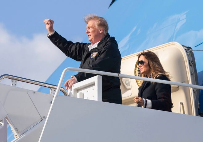 President Donald Trump and First Lady Melania Trump arrive at Palm Beach International Airport in March 2019. Trump is scheduled to arrive Wednesday for his first visit since the Nov. 3 elections.