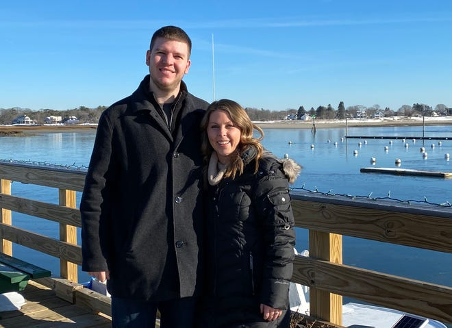Sean and Emily Roche, who began Project Stimulus Wells as a way to give back to the business community during the COVID-19 pandemic, at Wells Harbor where they recently handed out gift cards to visitors who came out to find them.