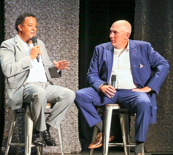 Seacoast Media Group sports editor Jay Pinsonnault, right, talks with Boston Red Sox Hall of Fame pitcher Pedro Martinez at the second annual Seacoast Sports Awards Night at The Music Hall in June 2018.