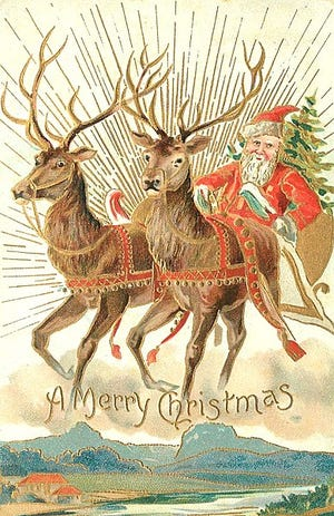 A 1907 Christmas card with Santa and some of his reindeer.