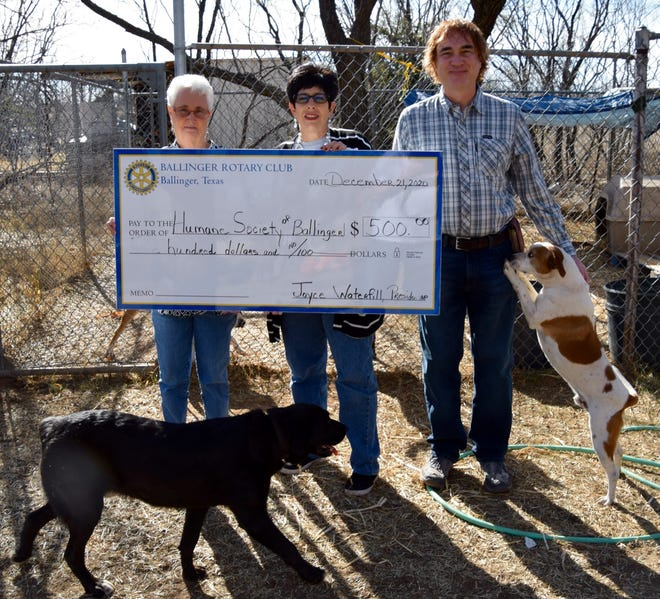 The Ballinger Rotary Club presented $500 to the Humane Society of Ballinger. Left-Right, Rotary president Joyce Waterfill, Humane Society of Ballinger owner Angela Hoyle and volunteer Chad Hardy.