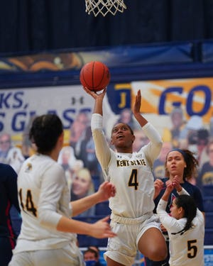Kent State sophomore forward Nila Blackford makes a layup against Duquesne during Monday's game at the M.A.C. Center.