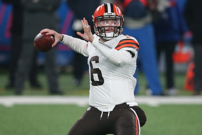 Browns quarterback Baker Mayfield drops back to pass against the New York Giants during the first quarter Sunday, Dec 20, 2020 in East Rutherford, N.J. (Brad Penner-USA TODAY Sports)