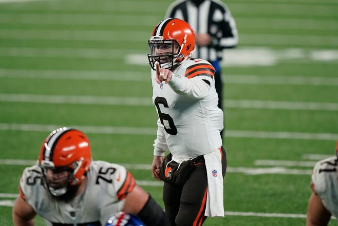 Browns quarterback Baker Mayfield makes his pre-snap calls during the second half against the New York Giants Sunday, Dec. 20, 2020, in East Rutherford, N.J. (AP Photo/Corey Sipkin)