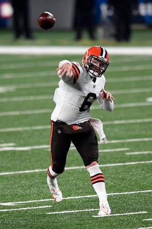 Browns quarterback Baker Mayfield throws against the New York Giants in the second half, Sunday, Dec. 20, 2020, in East Rutherford, N.J.