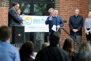 The Very Reverend Robert Smith, known as Father Bobby, speaks in 2018 after announcing the rebranding of St. Francis Community Services to St. Frances Ministries. The Kansas foster care leader charged $469K to credit cards and hid financial losses.  (File Photo)