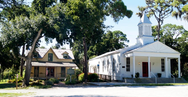 This 2015 file photo shows  the 1882 Bidwell-Wood House, left, and the 1901 Crocker Church in Pioneer Park in Sarasota. Caretakers are trying to raise money to repair the church.