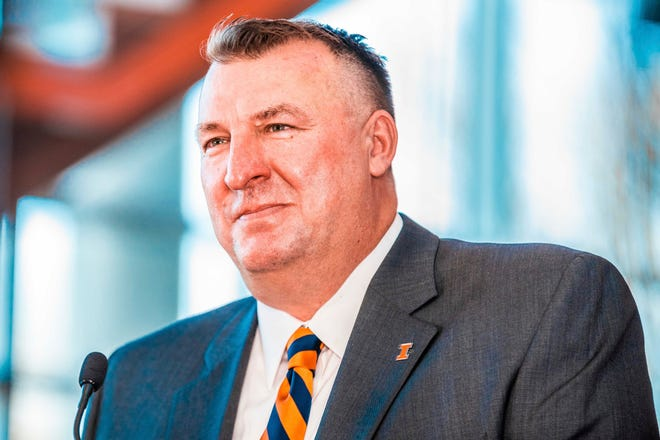IBret Bielema speaks at a news conference at Smith Football Center in Champaign, Monday. Bielema hopes to have a coaching staff in place by early January. [MICHAEL GLASGOW/UNIVERSITY OF ILLINOIS ATHLETICS]