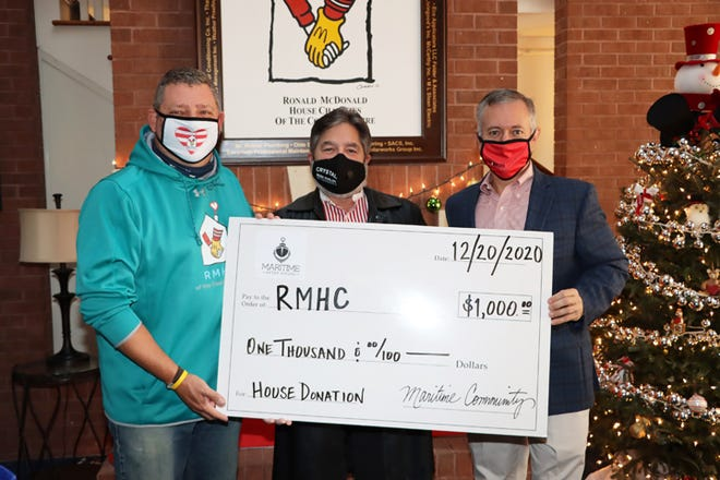 The Ronald McDonald House Charities of the Coastal Empire received a $1,000 donation from Savannah Maritime After Hours this week. It's the seventh year the group has donated to the Ronald McDonald House. [Photo courtesy of Ronald McDonald House Charities of the Coastal Empire]