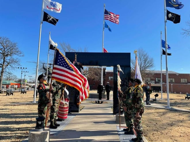 Many gathered for the Roll to Wreaths ceremony Saturday, Dec. 19.