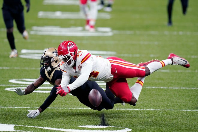 New Orleans Saints cornerback Janoris Jenkins breaks up a pass intended for Kansas City Chiefs wide receiver Sammy Watkins (14) on Sunday in New Orleans.